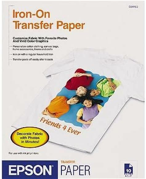 Letter Transfer Paper Epson S041153 Iron On Cool Peel Transfer Paper For Stylus Color Photo Scan 10 Sheets S0 41153