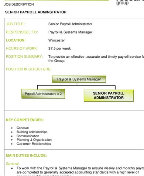 payroll administrator description sle 8 exles in word pdf