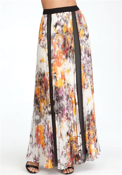 bebe pleated floral maxi skirt in multicolor floral lyst