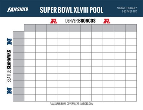 Bowl Box Template by Bowl 2014 Seahawks Vs Broncos Squares Office Pool Board