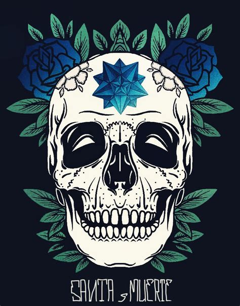 santa muerte flower skull and skulls on pinterest