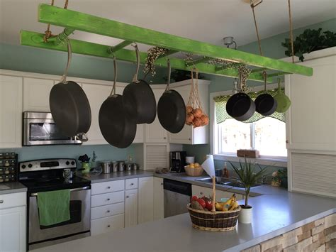 hanging for kitchen hanging ladder pot rack fab from drab