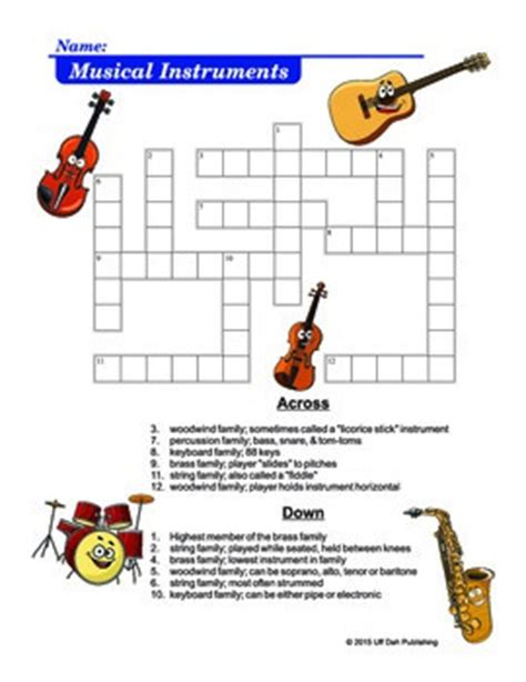 musical instruments crossword puzzle worksheet answers musical instruments crossword puzzle by opmusic tpt