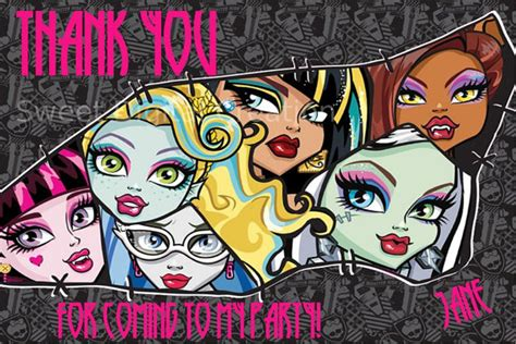 printable birthday cards monster high items similar to monster high birthday party thank you