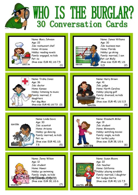 english talking themes who is the burglar 30 conversation cards roleplay