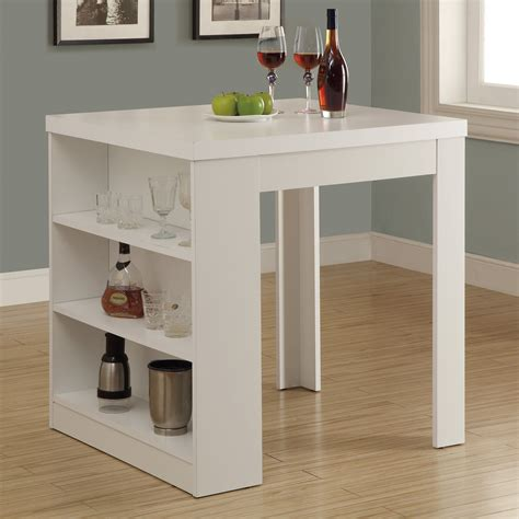 dining table with storage shelf to it monarch white square counter height table