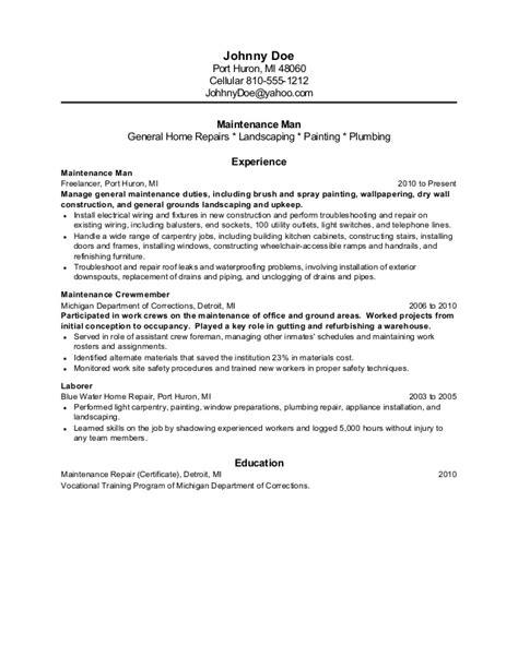 maintenance former inmate resume