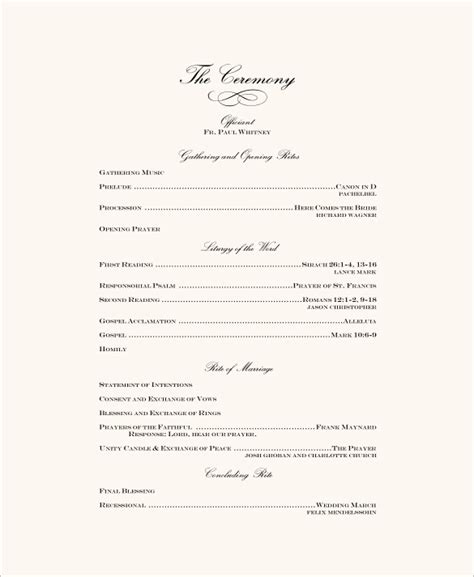 Wedding Ceremony Layout Template | wedding ceremony program template 31 word pdf psd