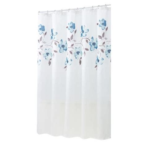 blue floral shower curtain hometrends blue floral fabric shower curtain walmart ca