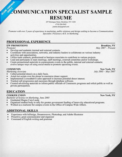 Communications Specialist Resume by Communication Skill Resume Assistant Skills For