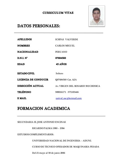 Modelo De Curriculum Vitae Para Operador De Maquinaria Pesada curriculum vitae carlos ichpas 1 1