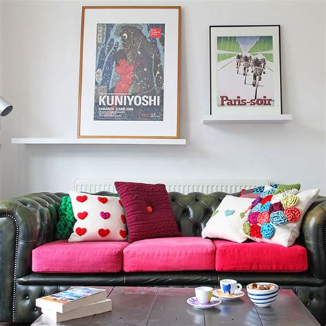 hot pink living room housetohome co uk white living room with green and pick leather chesterfield