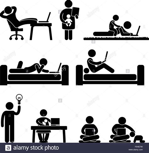 work from home office work from home office freedom lifestyle stick figure