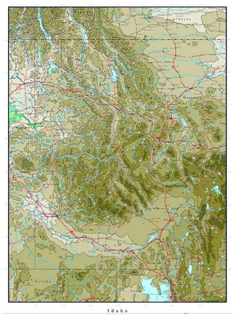 printable map idaho large printable elevation map of idaho state idaho state