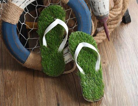 grass slippers lawn flip flops simulation green grass style