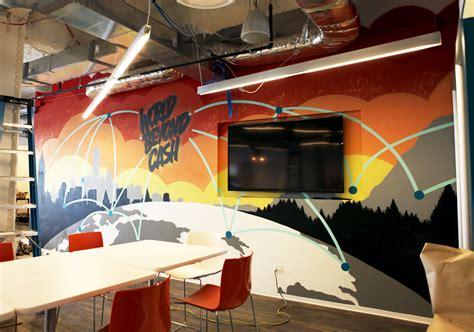 corporate office graffiti mural  mastercard workplace
