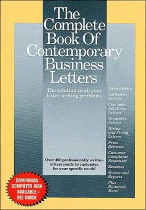 business letter writing book the complete book of contemporary business letters the