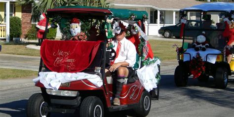 golf cart decorated for christmas in sun city center