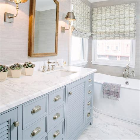 gray blue bathroom ideas blue shutter vanity with satin nickel cup pulls and