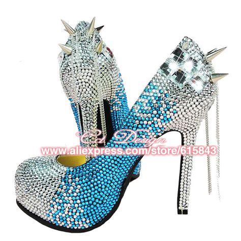 Helss 14cm 2017 new fashion wedding shoes blue rhinestones evening