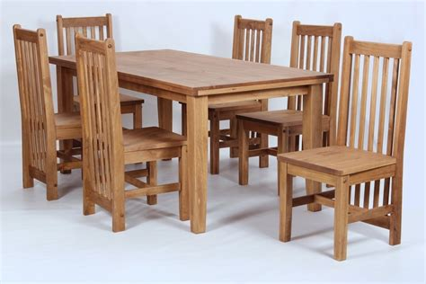 Pine Dining Table And 6 Chairs Pine Wooden Dining Table And 6 Chairs Homegenies