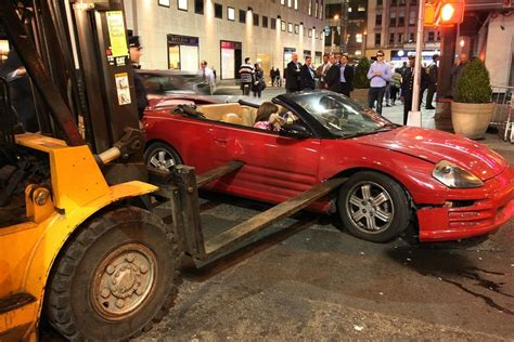 freak carforklift accident    rockefeller plaza nyc tonight pics