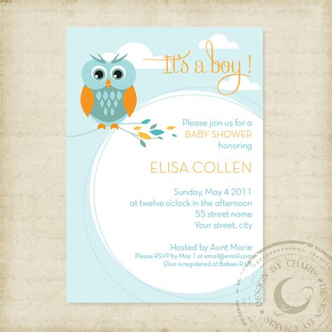 baby shower invites templates baby shower invitation template owl theme boy or
