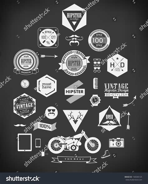 hipster style elements icons and labels stock vector hipster style elements icons and labels can be used for