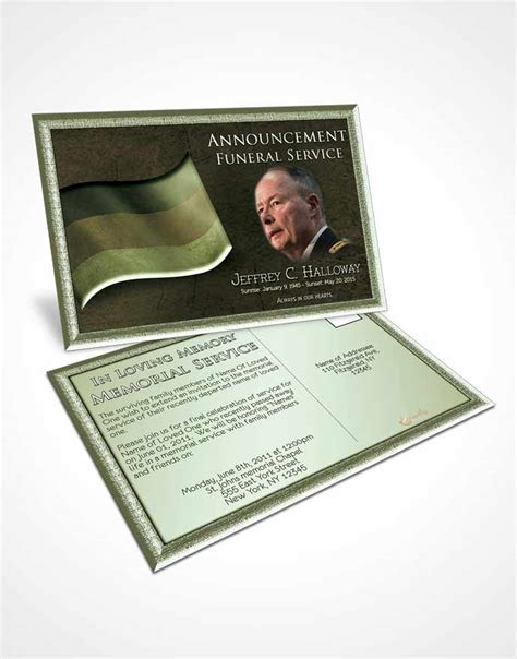 funeral announcement cards templates obituary template trifold brochure german emerald honor