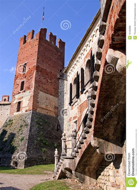 the fortified walls of an italian castle editorial image