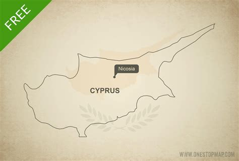 cyprus map vector free vector map of cyprus outline one stop map