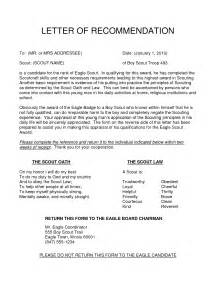 Sle Letter Of Recommendation eagle scout letter of recommendation sle from parents