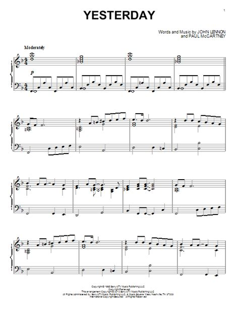tutorial piano yesterday yesterday sheet music by the beatles piano 89964