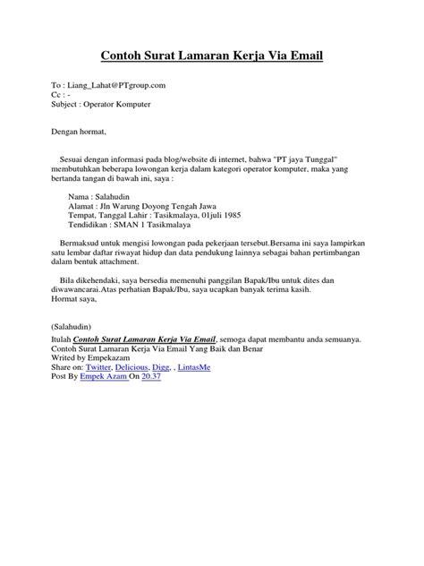 19++ Contoh Surat Lamaran Kerja Via Email - Kumpulan