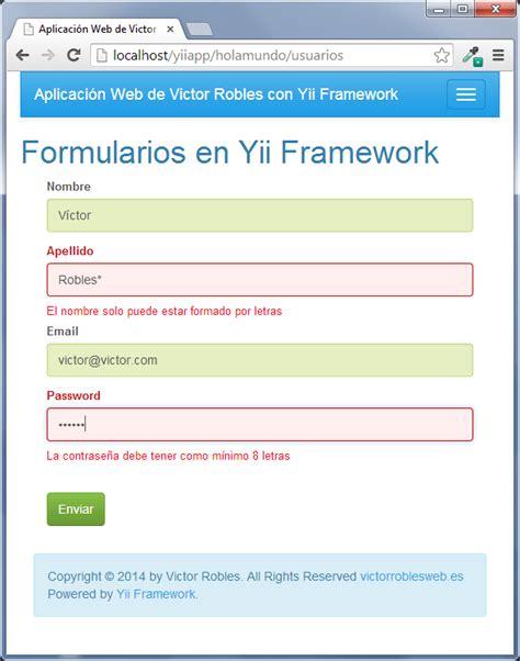 tutorial de yii framework en español crear el formulario con validaci 243 n en el cliente y