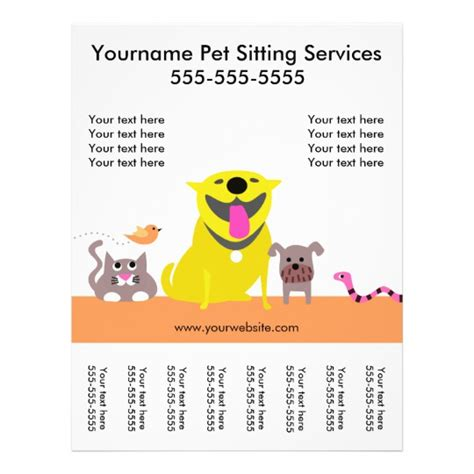 pet sitter s flyer with tags dog cat bird snake