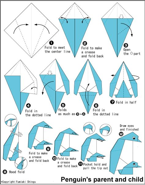 Easy Origami Penguin - penguin s parent and child easy origami for