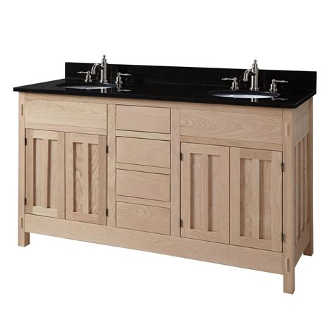 Hardwood Bathroom Vanity 60 Quot Unfinished Mission Hardwood Vanity For Undermount Sinks Sink Vanities