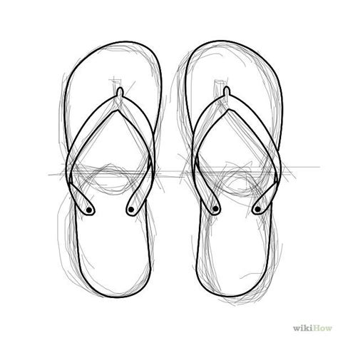 drawing slippers draw flip flops wikihow how to draw a