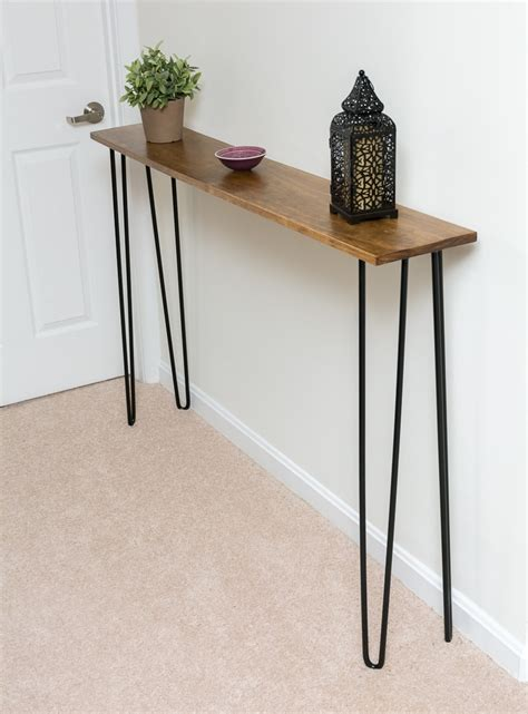 cheap diy table legs leftover pine diy hairpin leg console table by goldwyn live creatively
