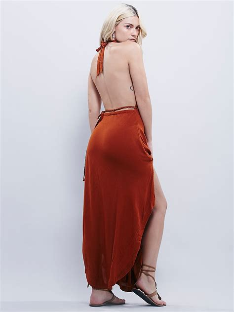 17678 Back Halter Sml free new boho open back halter sheer gauzy orange maxi dress sz s sml ebay