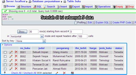 memasukan data ke dalam table di phpmyadmin notebase