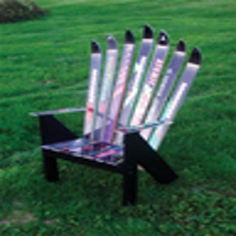 bench made out of skis benches and chairs made from recycled skis and snowboards