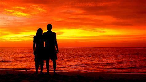 wallpaper couple silhouette romantic beach sunset  love