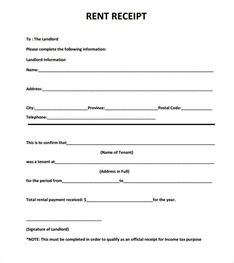 free rent receipt template 6 free rent receipt templates excel pdf formats