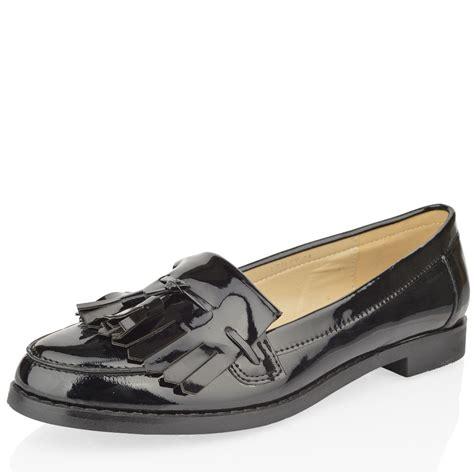 loafers for work womens black flat office work school tassel fringe