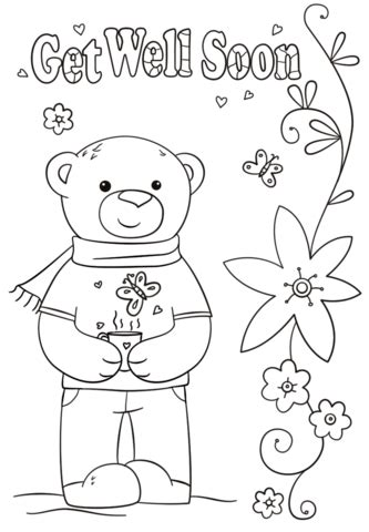 get well soon card template black and white get well soon coloring page free printable