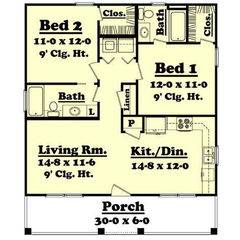 900 sq ft farmhouse style house plan 2 beds 2 baths 900 sq ft plan
