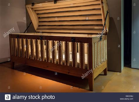 cage bed 19th century padded cage bed for epileptics in the dr guislain museum stock photo