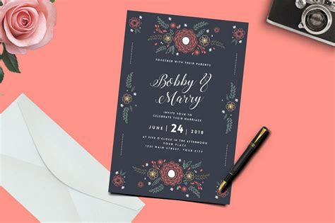 wedding invitation card template with floral vectors 01 free download